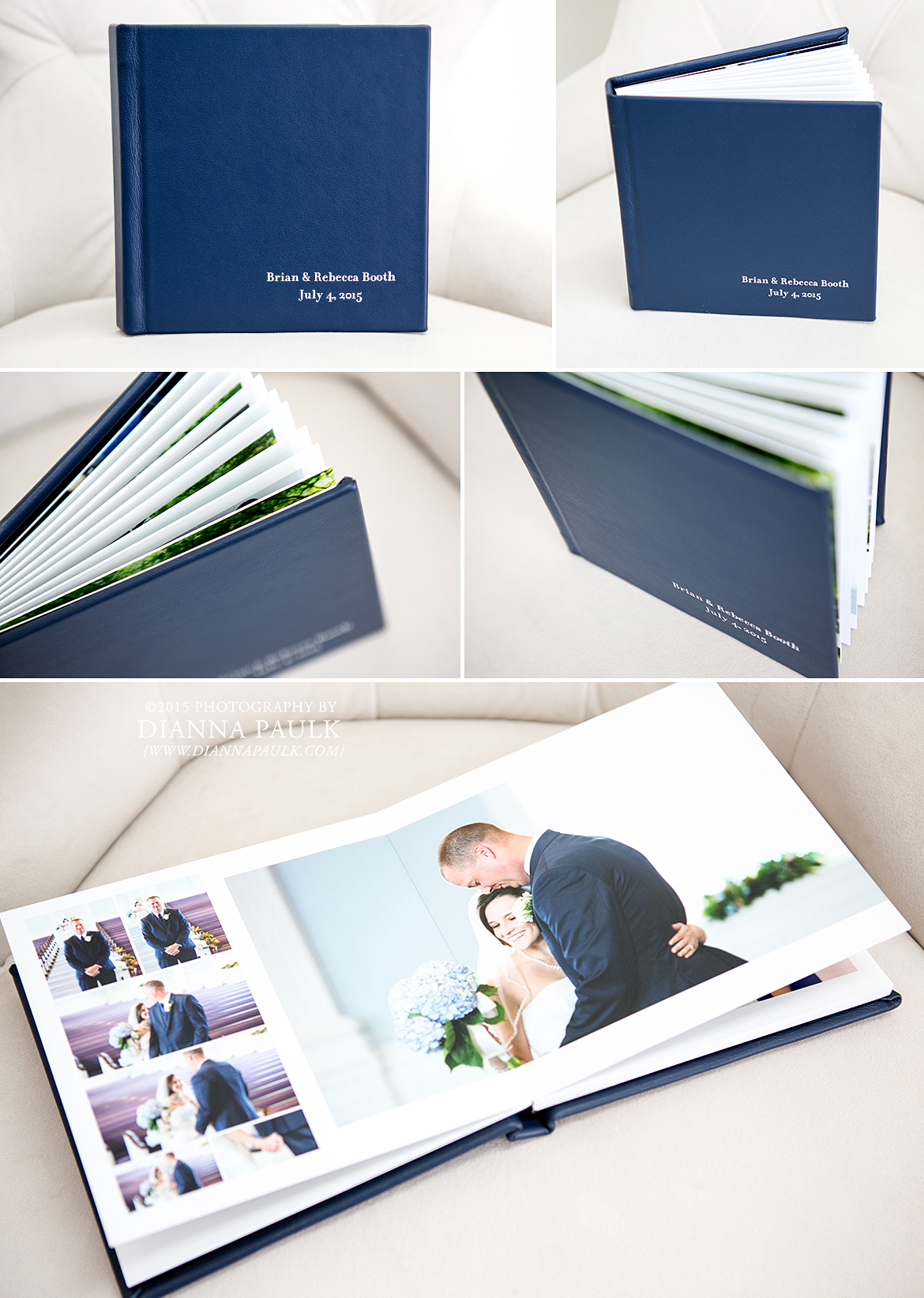 Basic Album; 8x8 20-page; Navy Blue Leather Cover; Silver Foil Stamping on Bottom Right